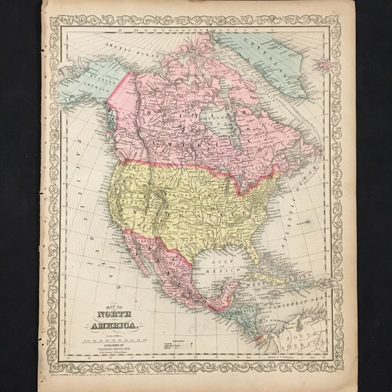 Antique Map Of North America.1859 Map Of North America Original Antique Map Hand Colored Etsy