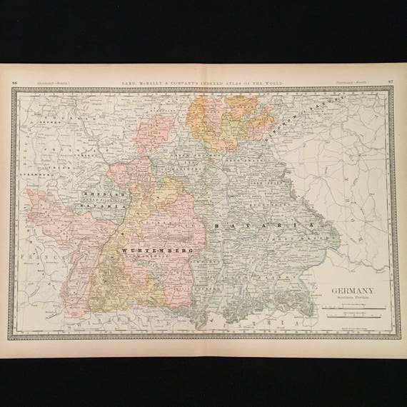 1887 Map Of Southern Germany Original Antique Map Extra Etsy