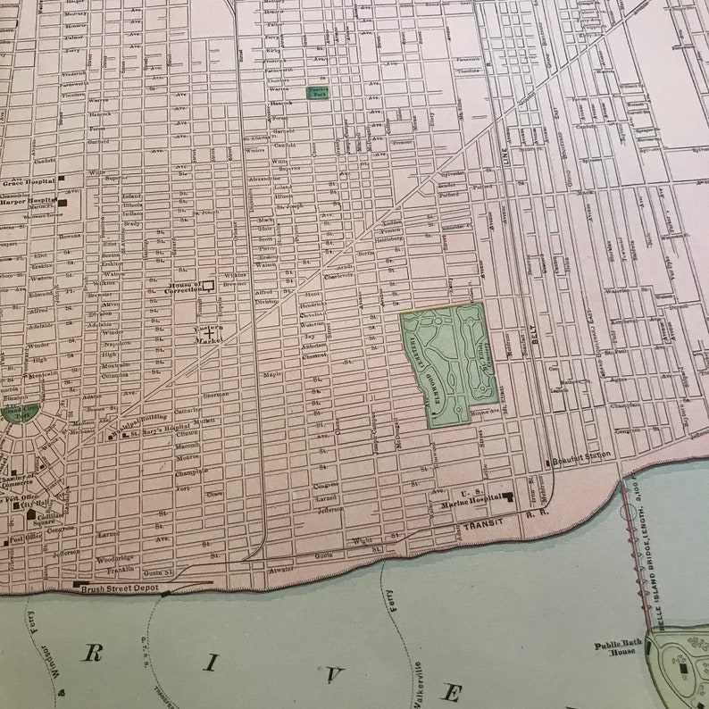 Original Rand McNally Business Atlas Map for Framing Large Antique Map of Detroit