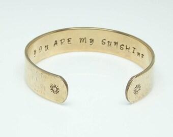 Mantra Bracelet, Inspirational Bracelet, Hand Stamped Message Bracelet, Quote Jewelry, Custom Cuff Bracelet, You Are My Sunshine Bracelet