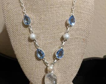 Moonstone, pearl and iolite sterling silver Y necklace