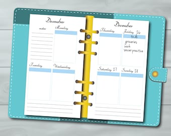 Personal Planner Inserts - Erin Condren Style - Week on 2 Pages Printable Inserts. Yearly undated, with and without months JPG/PDF