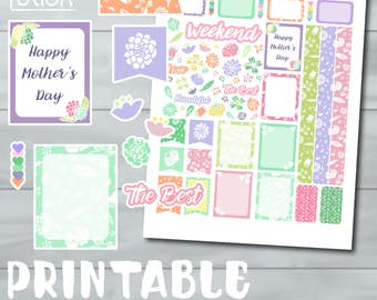Mother's Day Printable Planner Stickers - Perfect for Erin Condren & other Planners!