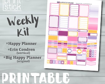 Pink Printable Planner Stickers - For Erin Condren  Vertical, Reg. & Big Happy Planner PRINTABLE Kit - With Cut Files!