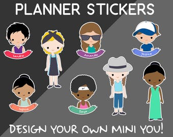 Custom Planner Stickers - Customizable Girl Printable Stickers - Create your own mini-you! Stickers! DIGITAL Please read instructions below