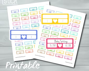 track time printable planner sticker sheet time slots etsy