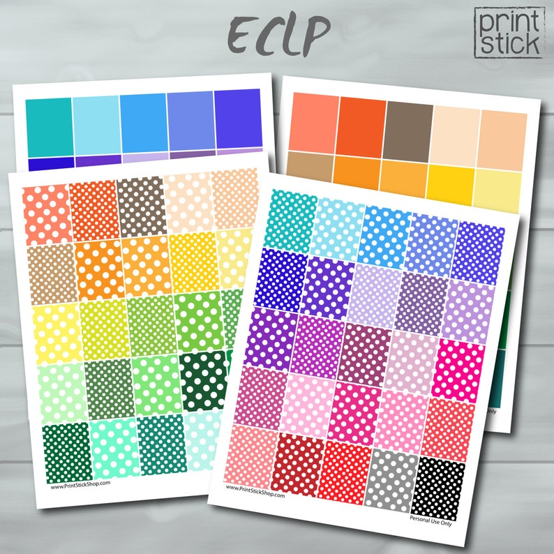 image about Dots and Boxes Printable called Polka Dots Total Packing containers - Printable Planner Stickers for your Erin Condren Vertical Planner o Joyful Planner - 4 Printable JPG Sheets