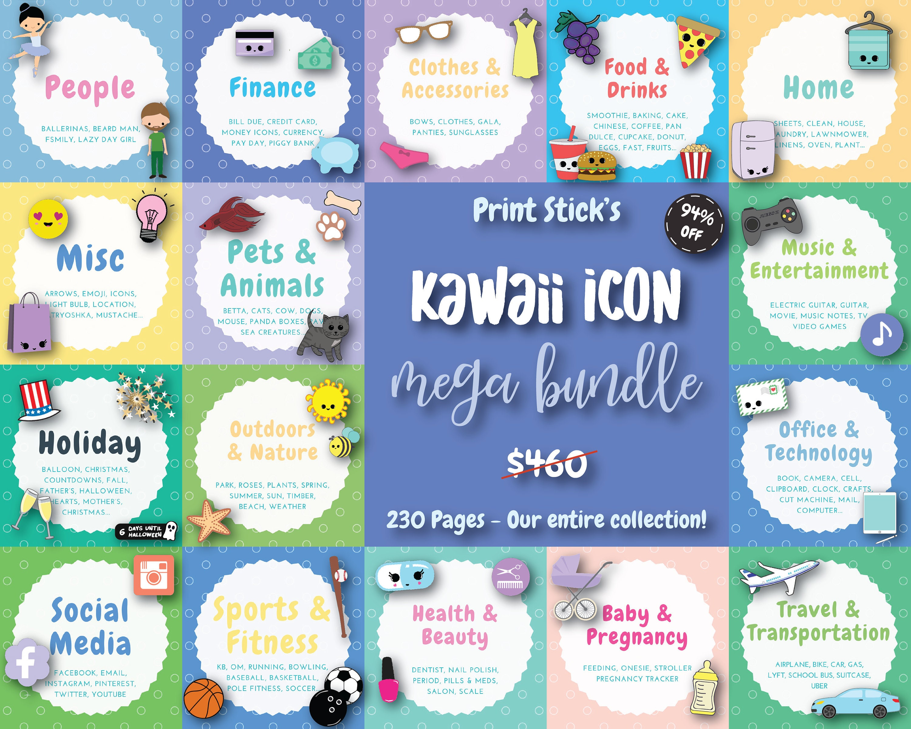 graphic about Printable Planner Stickers referred to as Printable Planner Stickers Kawaii Printable Package deal Lovable Stickers PDF Stickers Printable Stickers Joyful Planner Erin Condren - 230 Web pages!