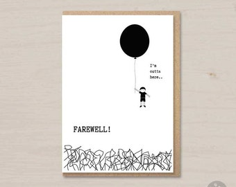 graphic regarding Free Printable Goodbye Cards titled Transferring Playing cards Etsy