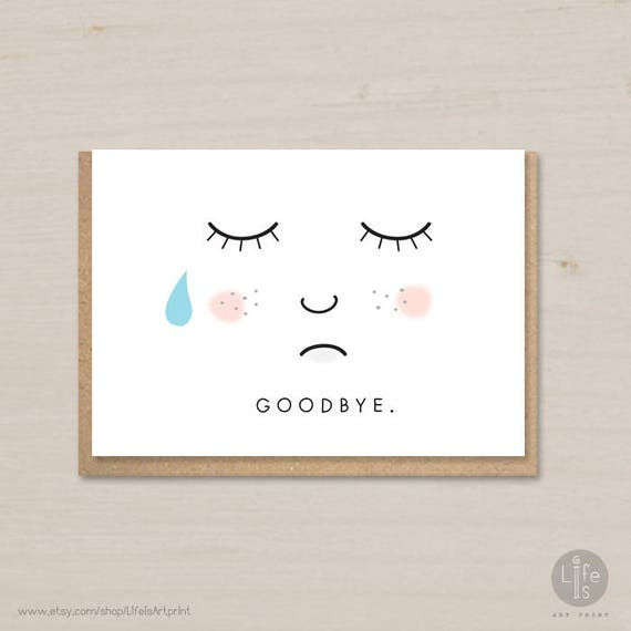 goodbye card printable farewell card bon voyage card etsy