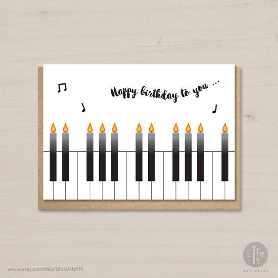 photo about Printable Candles called Satisfied Birthday card printable, birthday candles, piano, birthday card for small children and grown ups, for him, for her
