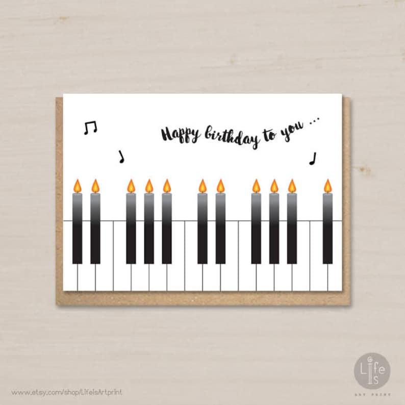 Happy Birthday Card Printable Candles Piano For Kids And Adults Him Her