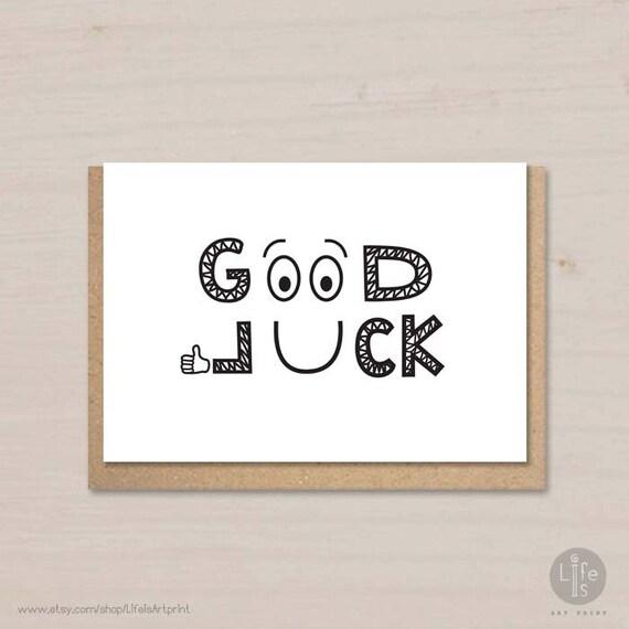 Good Luck Printable Card Friendship Card Farewell Card Etsy
