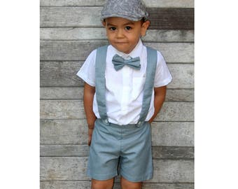 5T Boy Suspender Shorts-Grey(ONLY),Linen Shorts,Page Boy,Christening Outfit,Ringbearer Outfit,Baptism,Shorts with Braces,Wedding attendant