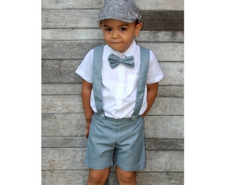 92d36a7e6 2T Boy Suspender Shorts-Grey,boy suit,Page Boy outfit,Christening Outfit,RingBearer,Baptism  boy,Shorts with Braces,Wedding attendant suit