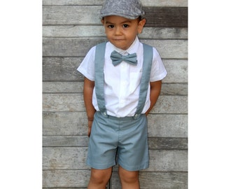 6m Boy Suspender Shorts-Grey,Linen Shorts,Page Boy,Christening Outfit,Ring Bearer,Baptism boy,Shorts with Braces,Wedding attendant boy