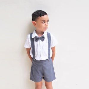 ONLY Boy Suspender Shorts Dark Grey ,Linen Shorts,Page Boy,Christening Outfit,Ringbearer,Baptism boy,Shorts with Braces,Wedding attendant