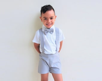 e58c84738837 Boy Suspender Shorts-Light Grey, Linen Shorts, PageBoy, Christening Outfit,  Ring bearer, Baptism boy, Shorts with Braces, Wedding suit
