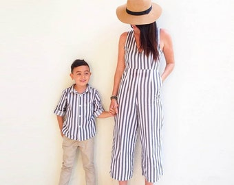 fb3ef15b32c Mommy and me Outfit-Grey Stripes