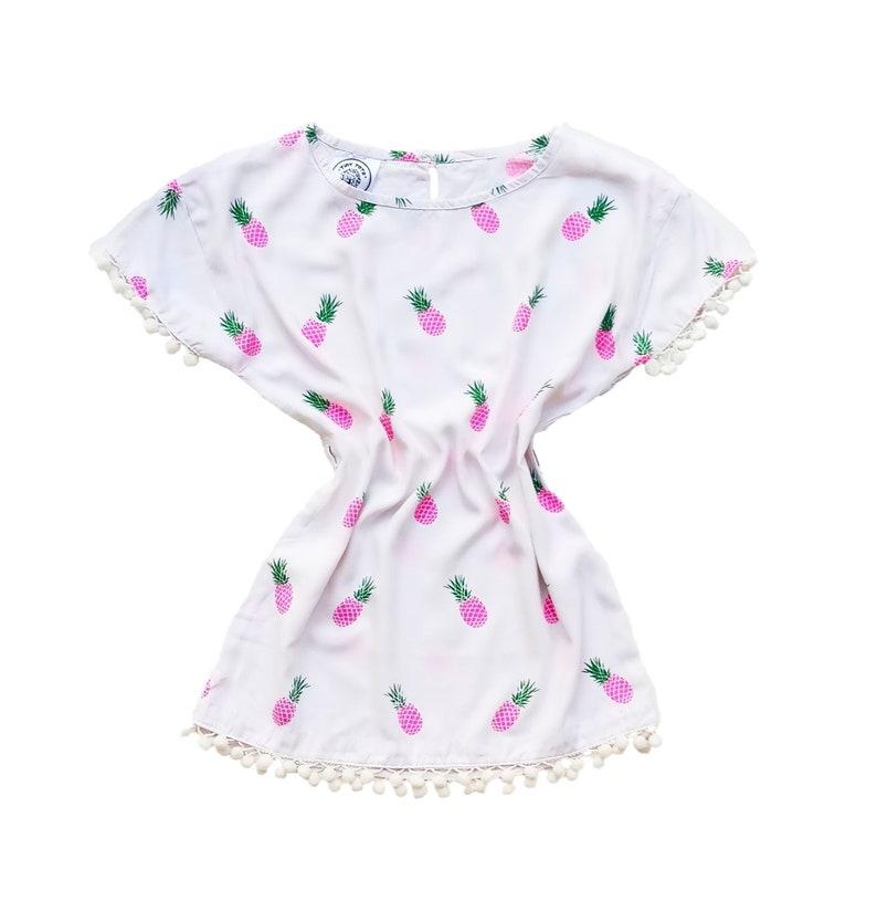 bfb691ae18b Girls Pineapple Dress Pom Pom Dress Girls Tunic summer