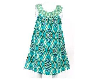 Girl Batik Dress / Ikat Dress / Girls Dress / Baby Girl Dress / Summer Dress / Bali Dress / Green Dress / Beautiful Dress / Toddler Dress