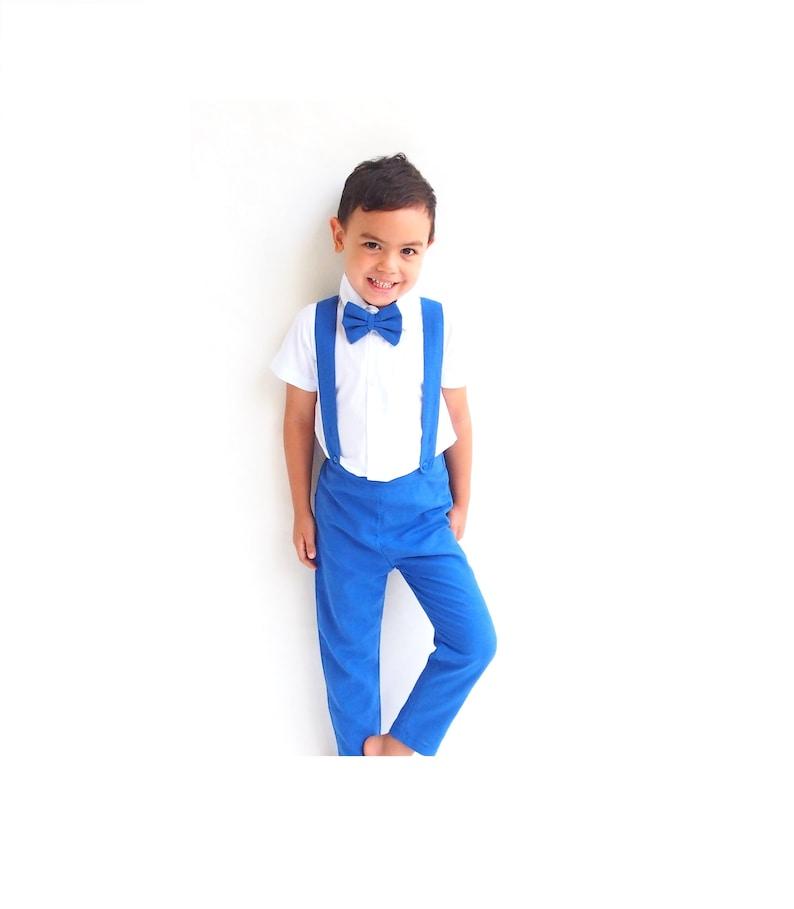 77f310c1aa6f 3 pcs. Boy Christening Outfit-BlueSuspender pantsBoy linen