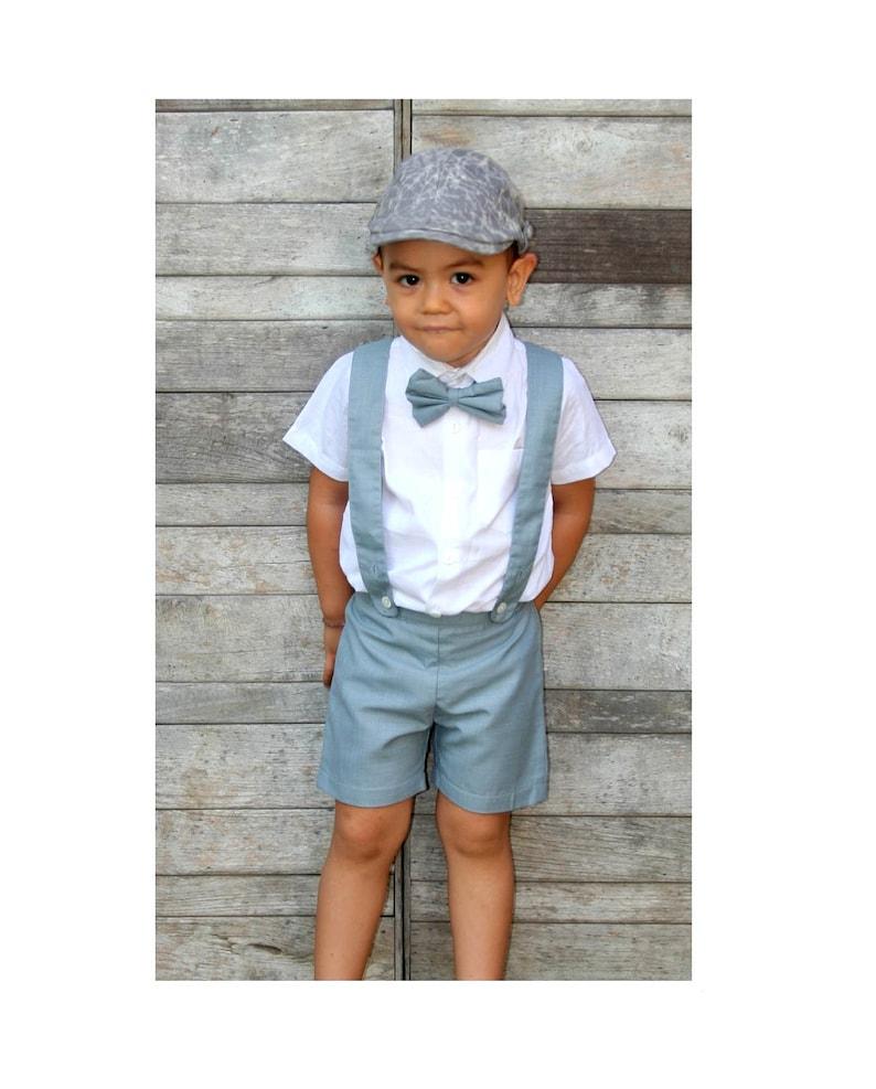 d3fad8ef0d82 3pcs. Christening Outfit-GreyBoy Suspender ShortsPage