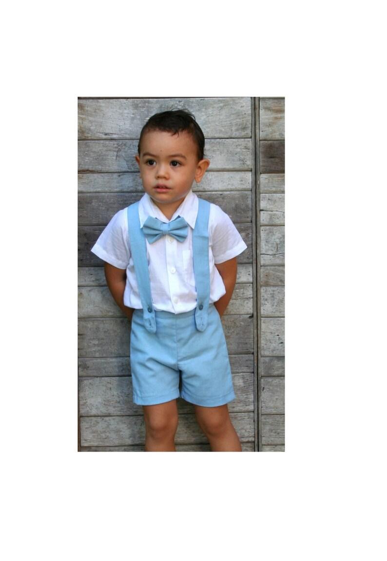 732120f93 12m 3pcs. Traje de bautizo-Aqua Boy tirantes cortos shorts   Etsy