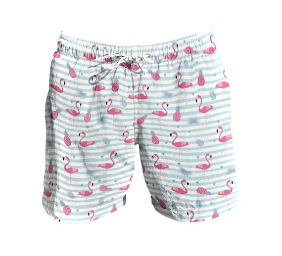 Etstk Flamingo Birds Kids Lightweight Beach Shorts for Boys