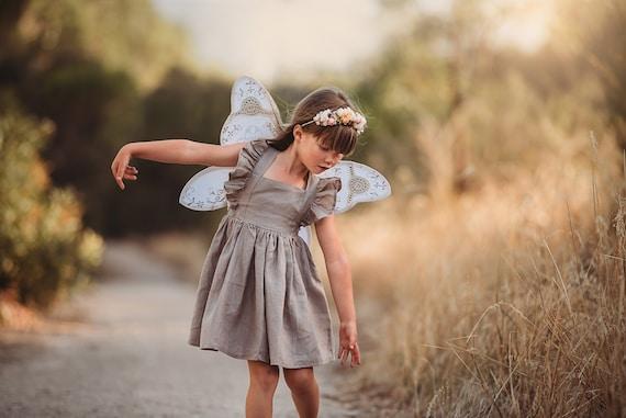 Baby Girl Dress Flutter Sleeve Dress Flower girl Linen Dress Tied Strap Dress Sage Ruffle Sleeve Dress Baby Girl Linen Dress