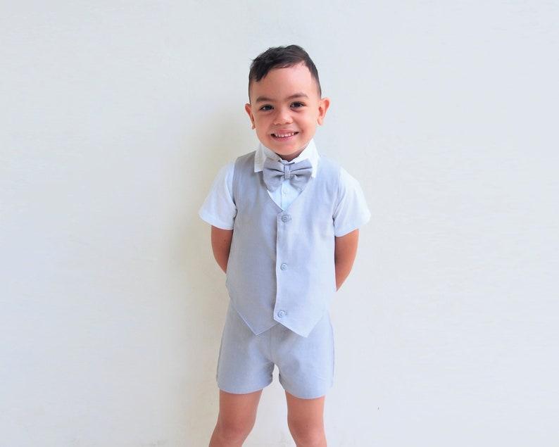 Light grey,Suspender Shorts,Boy Suit,Page Boy,Ringbearer,Baptism boy,Shorts with Braces,Page boy,wedding suit 4 pcs Boy Christening Outfit