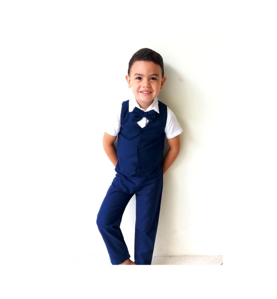 Page Boy Outfit,Ring Bearer,Baptism boy READY TO SHIP Boy Wedding Suit Christening Outfit-Navy 3pcs Boy Suspender Shorts,Linen Suit