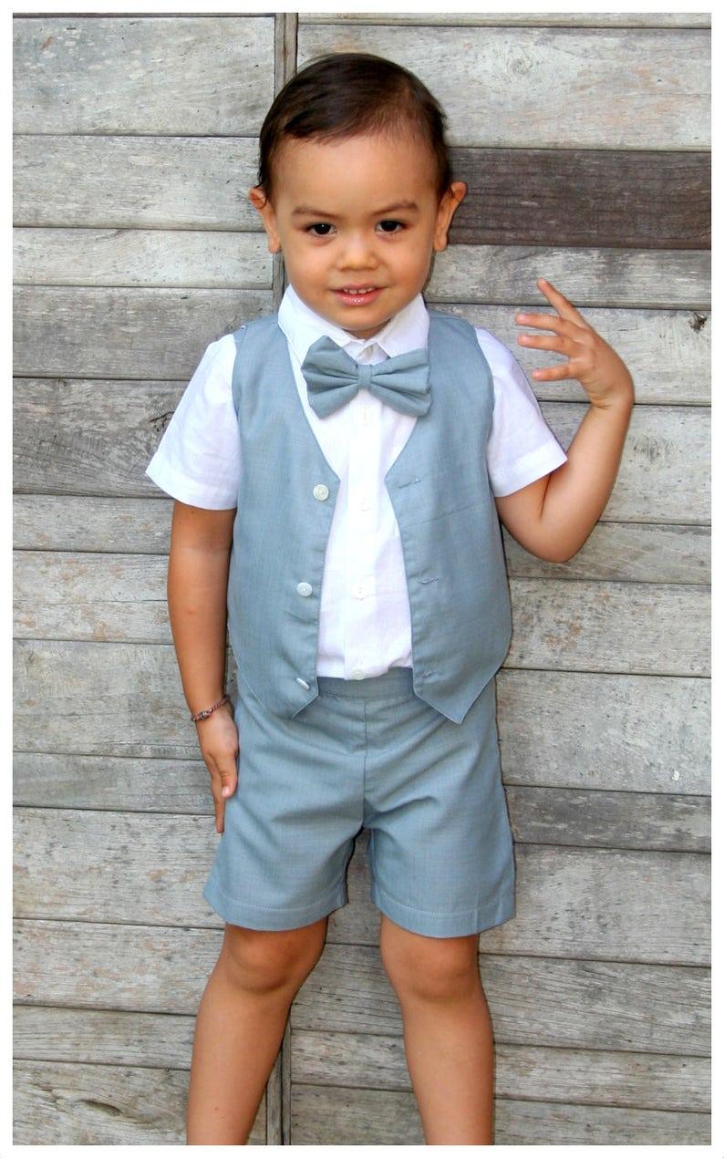 b20a3dd64 ... 12 m chico tirantes pantalones cortos gris traje de niño image 2 ...