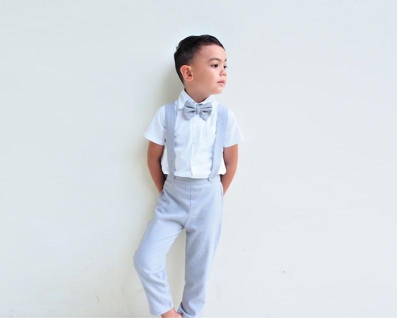 1e9b0c815a6 Boy Suspender Pants Light Grey Linen Pants Pageboy