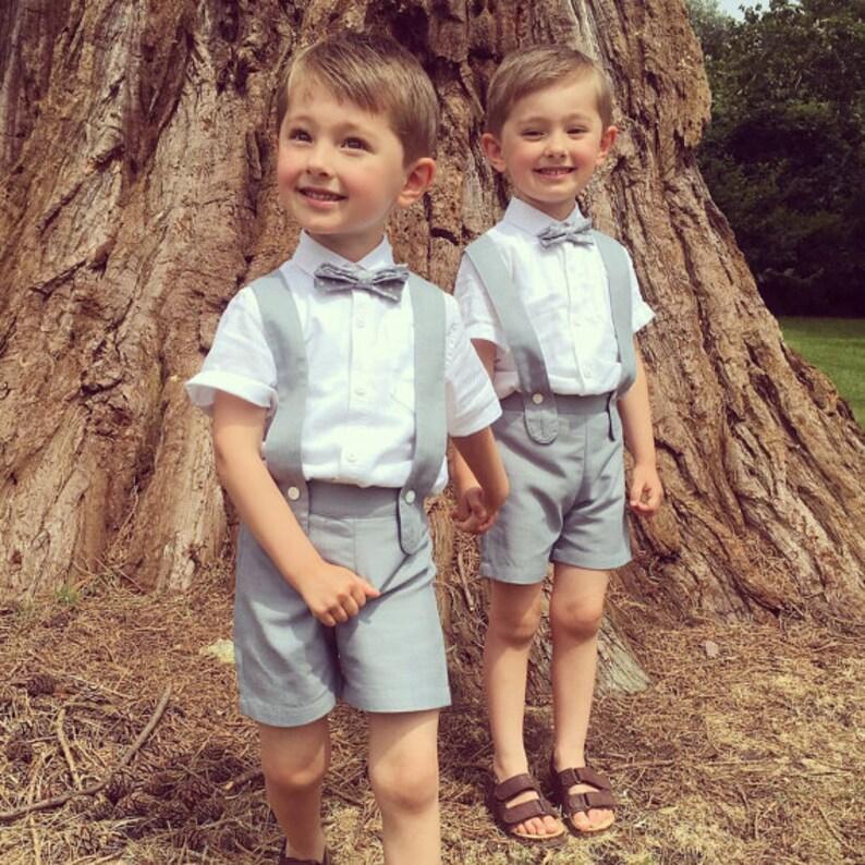 52ec90023 12 m chico tirantes pantalones cortos gris traje de niño image 0 ...