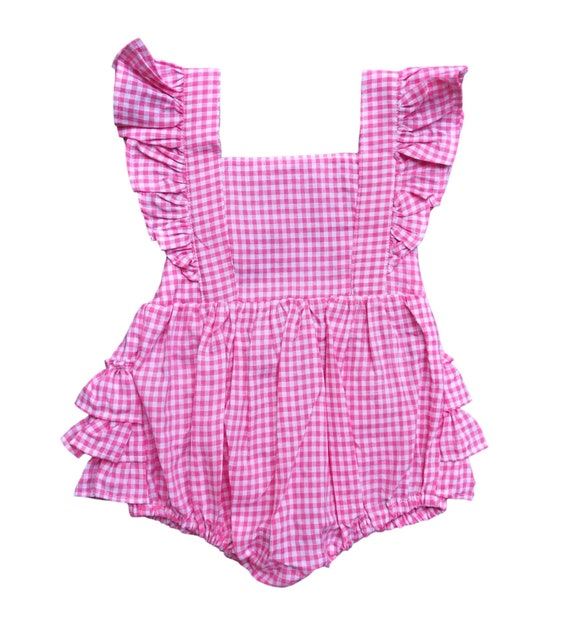 34eabfb6f Pink Checked Romper Pink Gingham Romper Ruffle Romper | Etsy