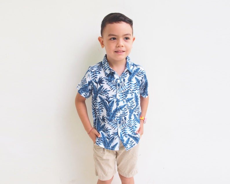 matching shirt Blue Leaves Tropical shirt Mommy and me Outfit Matching mother son Outfit,mother son matching,Boho skirt,Summer skirt