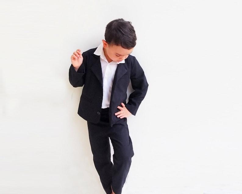 9a4cc9e74 3 pcs. Boy Christening Outfit Black Suspender pants Boy   Etsy