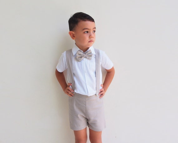READY TO SHIP Boy Suspender Shorts Beige, Linen Shorts , Page Boy suit, Christening Outfit, Ring Bearer, Baptism Suit pants,Wedding suit