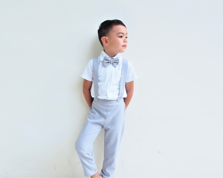 fbcc86ec6aba 3 pcs. Boy Christening Outfit-Light Grey Suspender pants