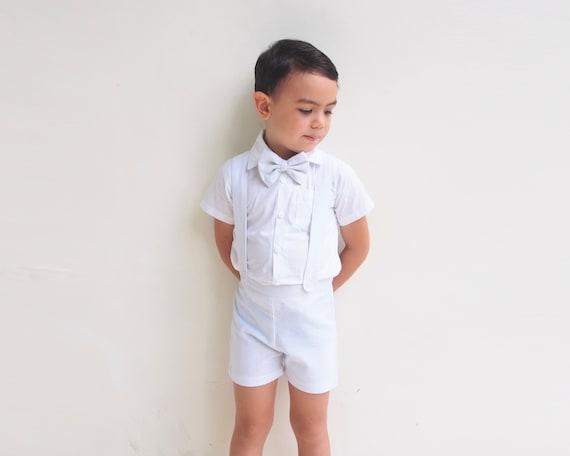 2 Piezas Traje de Bautizo con Pajarita Pantalones Cortos con Tirantes LABIUO Conjunto de Ropa de beb/é para Hombre
