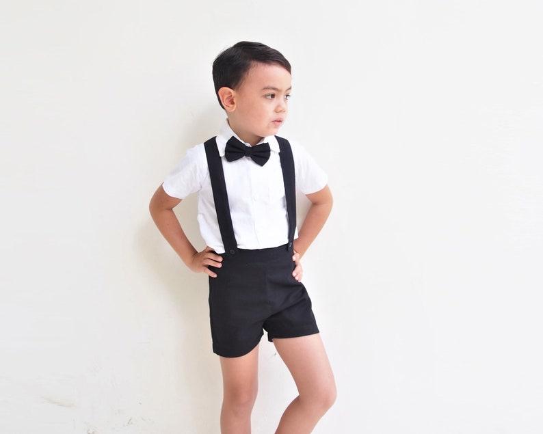 Boy Suspender Shorts-Black,Linen Shorts,Page Boy,Christening Outfit,Ring Bearer,Baptism,Shorts with Braces,boy suit,Wedding Suit