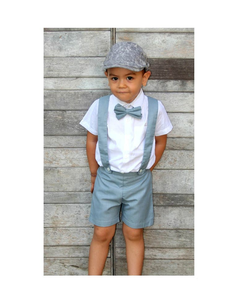 1c71da7b13a5b Garçon bretelle Shorts-Grey (uniquement), costume de garçon, Page Boy,  tenue de baptême, porteur de l'anneau, baptême garçon, Short à ...