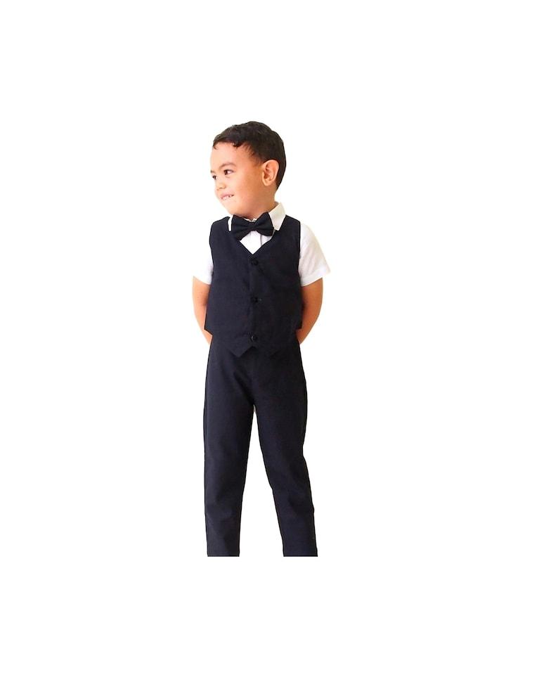 df3d4ce59 4 pcs. Boy Linen Suit Black Boy Suit Christening Outfit   Etsy