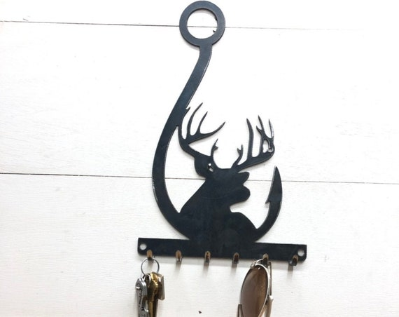 Fishing and Hunting Entryway Organizer - Deer Key Rack Metal Decor- Fishing Key Rack -Key Chain and Sun Glasses Holder - Leash and Key Rack