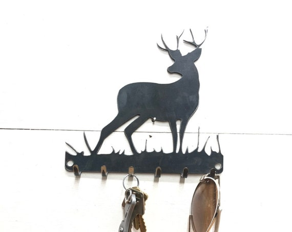 Deer Key Rack Metal Decor - Key Chain and Sun Glasses Holder - Leash and Key Rack