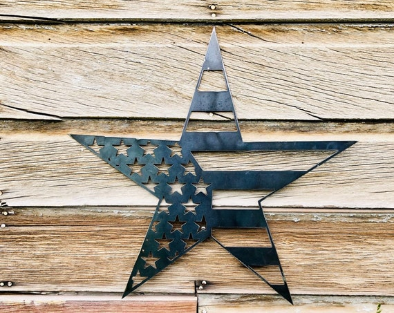 Metal American Flag Star, Metal wall Art, Front Door Decor,