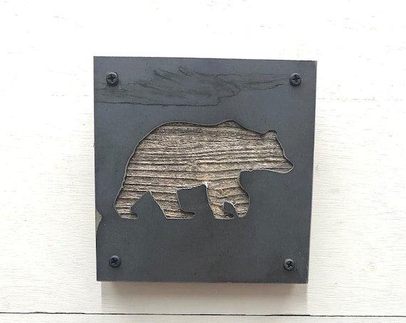 Metal and Wood Bear Rustic Wall Decor