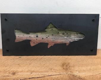 Rustic Barnwood and Metal Fish Decor