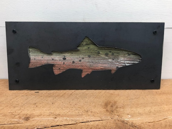 Rustic Barnwood and Metal Fish Decor